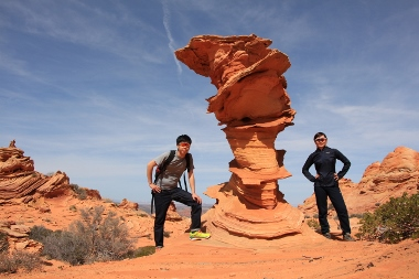 Hikers at Dali Rock in Cottonwood Cove